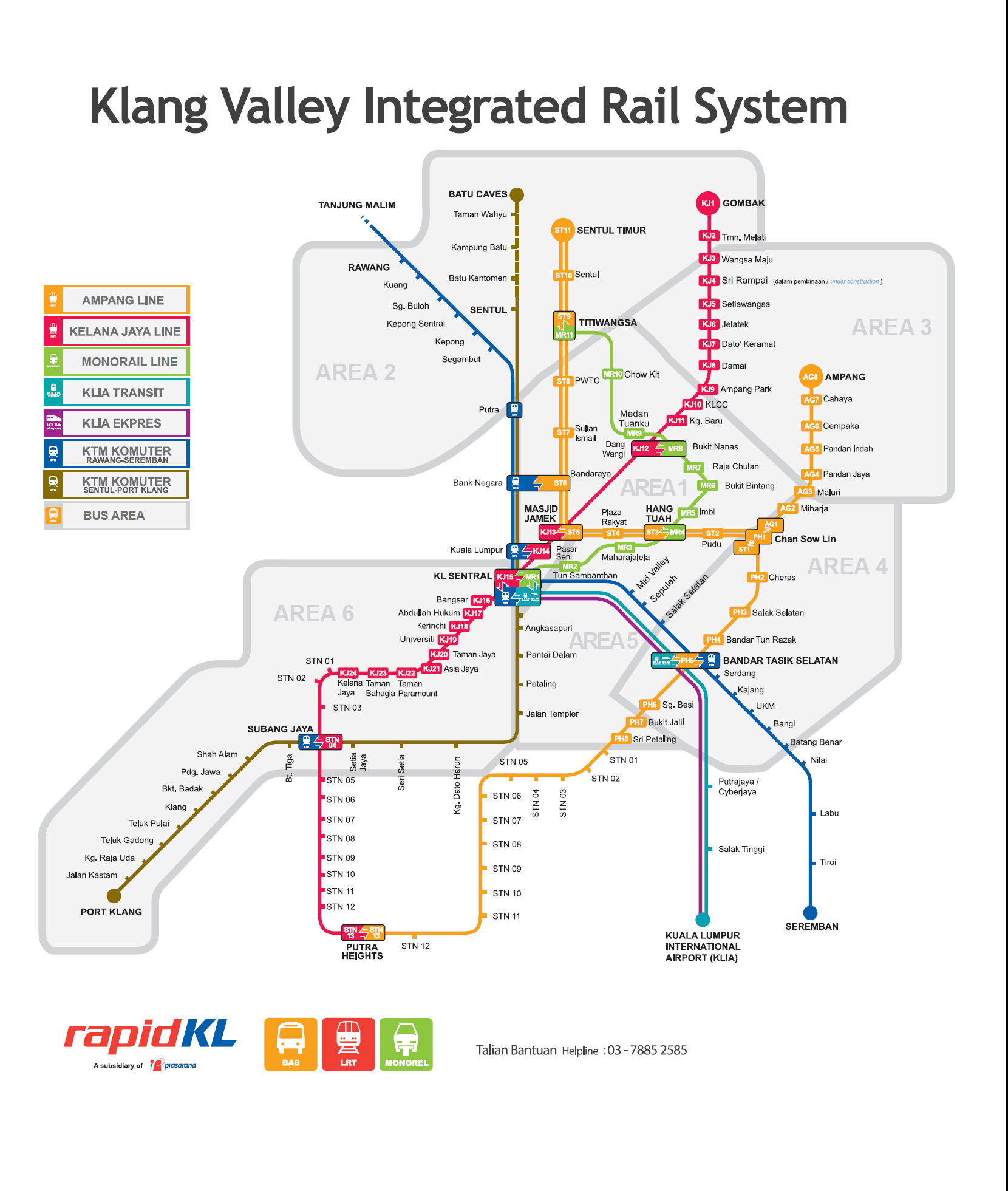 Kuala Lumpur Integrated Railway System and travel destinations