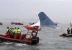 """Part of South Korean passenger ship """"Sewol"""" that has been sinking is seen as South Korean maritime policemen search for passengers in the sea off Jindo"""
