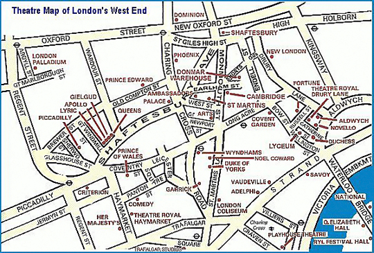 West End Theatres London Map.Planning For A Theatre Break In London