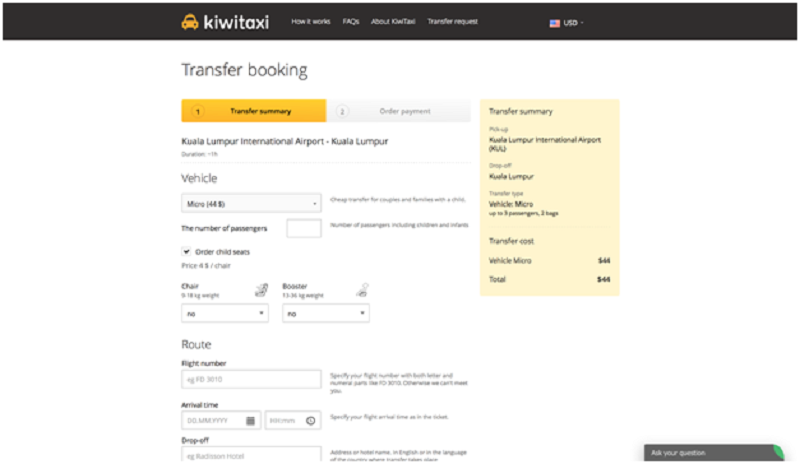 Kiwitaxi individual transfers